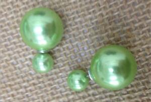 LMFR26-P3 a pair,fancy chinese 16mm&8mm Grass green shell bead earring studs