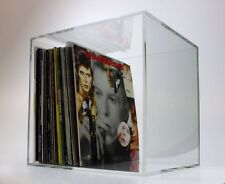"""Vinyl LP 12"""" Record Storage Box Fully Assembled & Stackable Rack Clear Acrylic"""