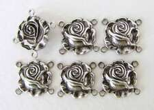 Antiqued Silver Ox Charm Rose Flower Connector Link Metal Finding 15mm