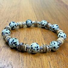 Bracelet Homme femme Jaspe Dalmatien - Bois de Cocotier - Tibet -  Lithothérapie