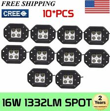 10x 5''inch 16W Flush Mount Led Work Light Cree Offroad Spot Pods Suv 4Wd Truck