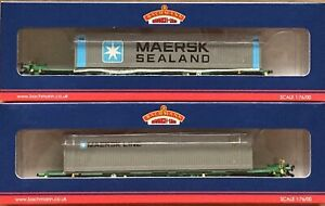 00 Bachmann 37-313 Intermodal Bogie Wagons with 2 x 45ft Containers Maersk : NEW