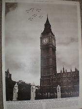Photo article Gloster Meteor fly-past Battle of Britain anniversary Big Ben 1954
