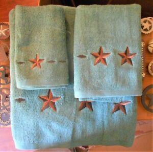 WESTERN  TEXAS STAR BATH TOWEL SET-TEAL-HOME OFFICE TRAILER SET OF 3 ITEMS