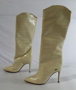 Schutz Women's Maryana Knee-High Croc Embossed Boots JQ2 Eggshell Size US:7.5B
