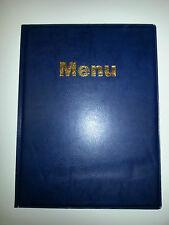A4 MENU COVER/FOLDER IN BLUE LEATHER LOOK PVC - LARGE MENU FONT