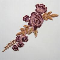 Rose Flower Applique Badge Embroidered Floral Collar Sew Patch Bust Dress Crafts