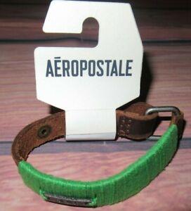 MENS AEROPOSTALE LEATHER SNAP CLOSURE BRACELET