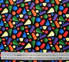 1/2 yard Rainbow Geometric 3D Shapes on Black Neon Quilt Patchwork Fabric