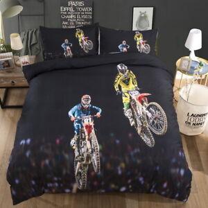Motorcycle Racing Motocross Bedding Set Duvet Cover Pillowcase Single Double K