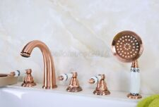 Red Copper  5 Holes Bathtub Faucet With Brass Hand Sprayer Deck Mounted tf233