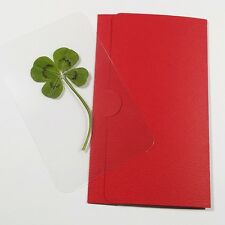 Genuine Real 4 Four Leaf Clover Lucky Gift Wallet Card st.Patric's day sharmrock