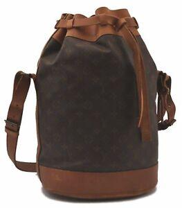 Authentic Louis Vuitton Monogram Shoulder Drawstring Bag Old Model LV C4228