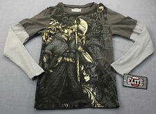 MMA ELITE UFC Mens Gray Gold Foil Reaper w Lite Gray Sleeves Thermal Shirt NWT S