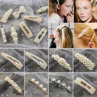 Womens Pearl Crystal Hair Clip Snap Barrette Stick Hairpin Hair Accessories Gift