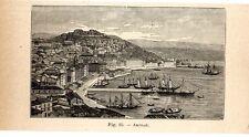 Stampa antica ANCONA veduta del porto e della città 1910 Old print