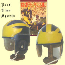 1940 Leather Michigan Winged Style Leather Football Helmet Tom Harmon Days