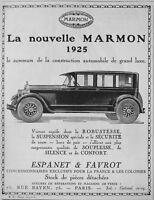 PUBLICITÉ DE PRESSE 1925 NOUVELLE MARMON AUTOMOBILE GRAND LUXE - ESPANET FAVROT
