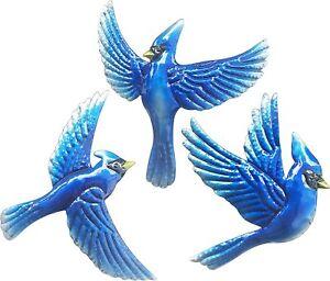 Wall Sculpture Metal Blue Bird Hanging Art Sculpture Bedroom Home Garden Decor