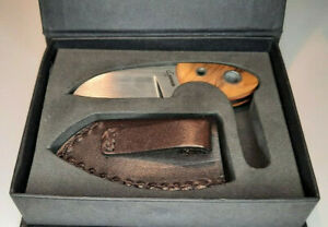"""Boker Plus Gnome Knife 2"""" 440C Stainless Steel Fixed Full Tang Blade Wood Handle"""