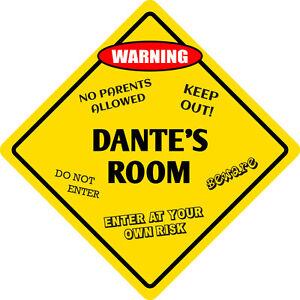 """*Aluminum* Dante's Room Kids Room Door 12""""x12""""  Metal Novelty Sign"""