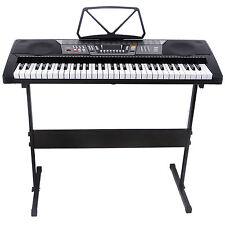 Black 61 Key Music Electronic Keyboard Electric Digital Piano Organ w/Stand