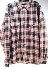Levi Two Horse Men Ls Flannel Shirt Size 2Xl Brown Red Beige Faux Fur Lined