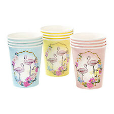 12 x FLAMENCO vasos de papel Bonito Estilo Antiguo tropical hawaiian Tema Fiesta