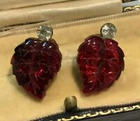 Vintage Lucite Paste Clip On Earrings Red Leaf