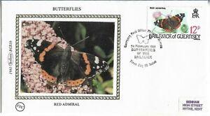 Guernsey 1981 Benham Silk Butterflies Red Admiral FDC