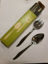 New listing Utica Cameo Rose Stainless Serving Spoon Meat Fork Silverware Flatware with box