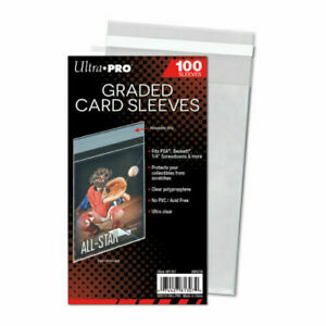 100 x Ultra PRO Graded Card Sleeves RESEALABLE Fits PSA BGS Beckett Slabs 100ct