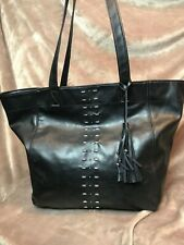 ABERCROMBIE & FITCH WEEKEND BAG Black Faux Leather Brush Silver Stud