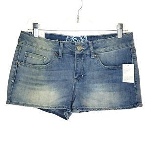 NEW SO Womens Shorts Size 9 Shortie Faded Blue Denim Waist 32