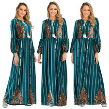 Dubai Kaftan Women Muslim Printed Long Sleeve Maxi Dress Abaya Jilbab Loose Gown