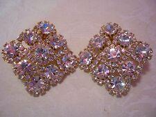 JOAN RIVERS White Crystal Clip Earrings