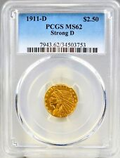 1911-D $2.50 US Indian Head Gold Quarter Eagle Coin Graded PCGS MS62 Strong D