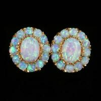Opal 18k Yellow Gold Over Cluster Stud Earrings Fabulous Opals (1.50Carat) 1pair