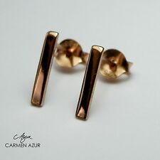 18ct Rose Gold on Sterling Silver 925 Stud Earrings BAR Ladies New with Gift Bag