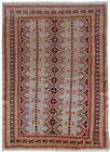 Handmade vintage Uzbek Bukhara rug 4.1' x 5.6' (127cm x 173cm) 1960s - 1C491