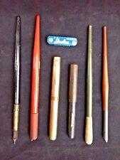 Writing Instruments Lot (7) Pcs Pens Cartridge Ballpoint Pencils Eraser Vintage