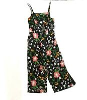New OLD NAVY Floral Crop Wide Leg Jumper Pant Women Large L Black Rayon Pockets