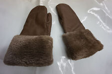 brown deerskin mittens with shared beaver around the cuffs