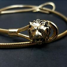 Vtg Belt Gold Lion Metal Skinny Chain Stretchy 3D Animal Head Clasp 27.75 inches