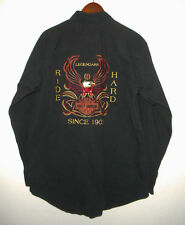 HARLEY DAVIDSON Button up Motorcycle Shirt BLACK Embroidered EAGLE Biker Mens MD