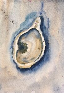 "ACEO Oyster Shell Original Watercolor Painting K Fuller 2.5""x3.5"""