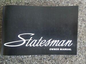 HOLDEN HQ STATESMAN OWNERS MANUAL.   100% GUARANTEE.