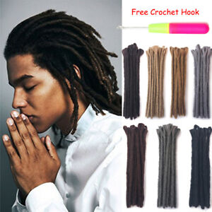 "12"" Dreadlocks for Men Single Ended Twist Braided Dreads Crochet Hair Extensions"