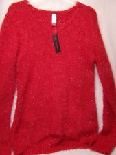 New No Boundries Sweater Red with Silver Metallic Knit Sz Large 15-17 Junior