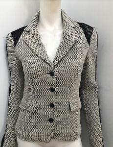 PIANURASTUDIO Italy white knit lined stretch jacket ~ sz 44 / 10-12